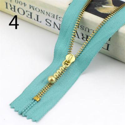 Metal Tooth Zip With Brass Teeth - Number 3 Weight - 20cm - Aqua
