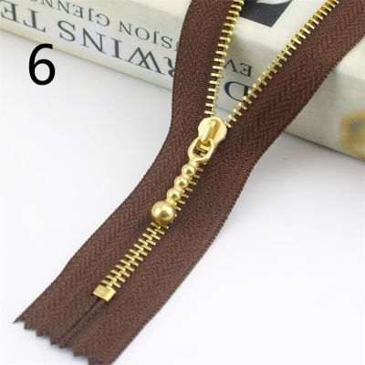 Metal Tooth Zip With Brass Teeth - Number 3 Weight - 20cm - Brown