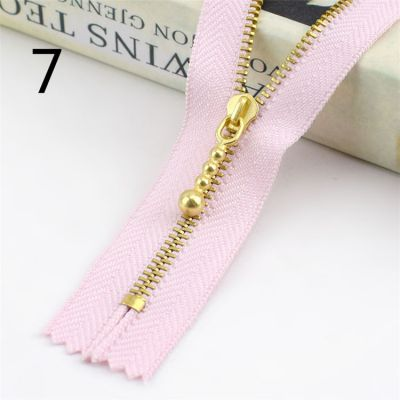Metal Tooth Zip With Brass Teeth - Number 3 Weight - 20cm - Pink