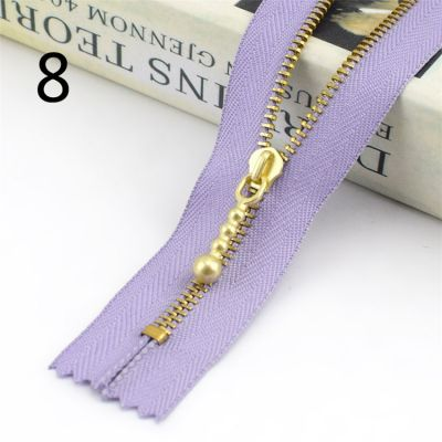 Metal Tooth Zip With Brass Teeth - Number 3 Weight - 20cm - Purple