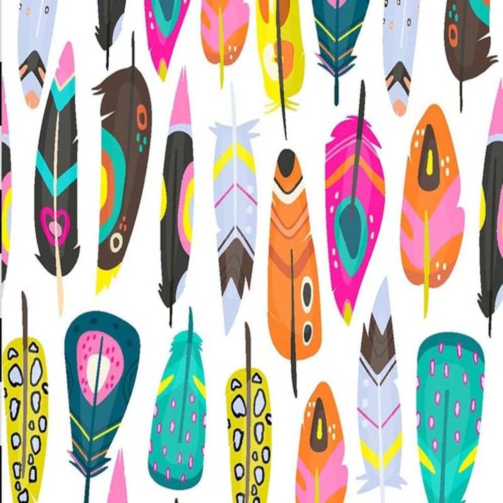 Remnant -Digital Cotton Print  - Bright Abstract Feathers - 1m x 140cm