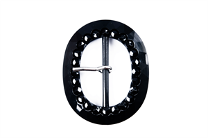 Large Decorative Buckle Black - Oval - 50mm