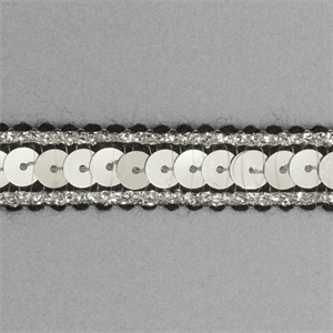 Sequin Metallic Edged Trim - 12mm wide Black/Silver