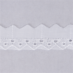 Broderie Anglaise Pointed Edge Lace Trim 25mm Wide - White