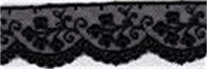 Embroidery on Tulle Lace Trim 25mm Wide - Black