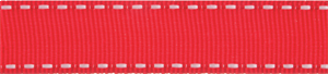 Red Grosgrain White Stitch Edged Ribbon 9mm Wide 5m Reel