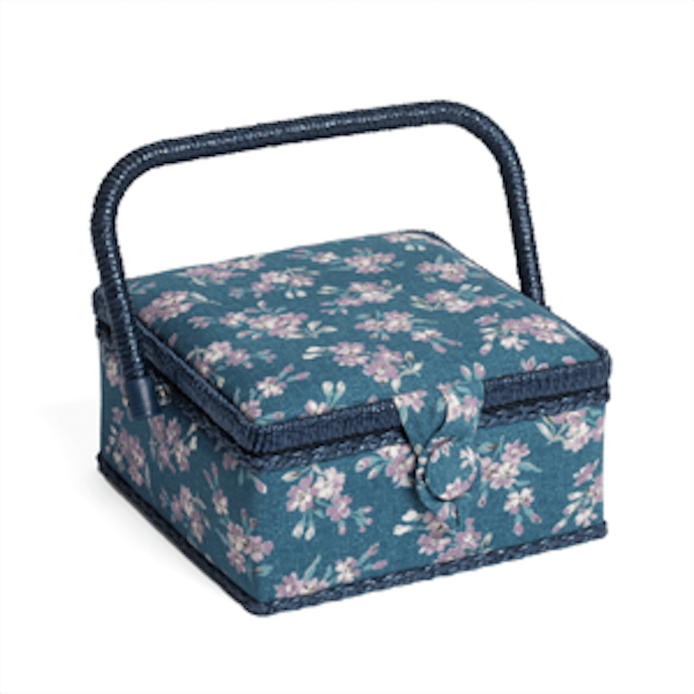 Classic Small Square Chambray Rose Denim Sewing Box