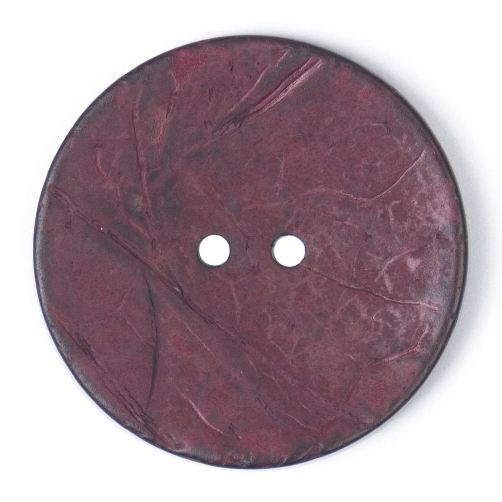 Round Coconut Shell Button - Burgundy - 40mm / 64L