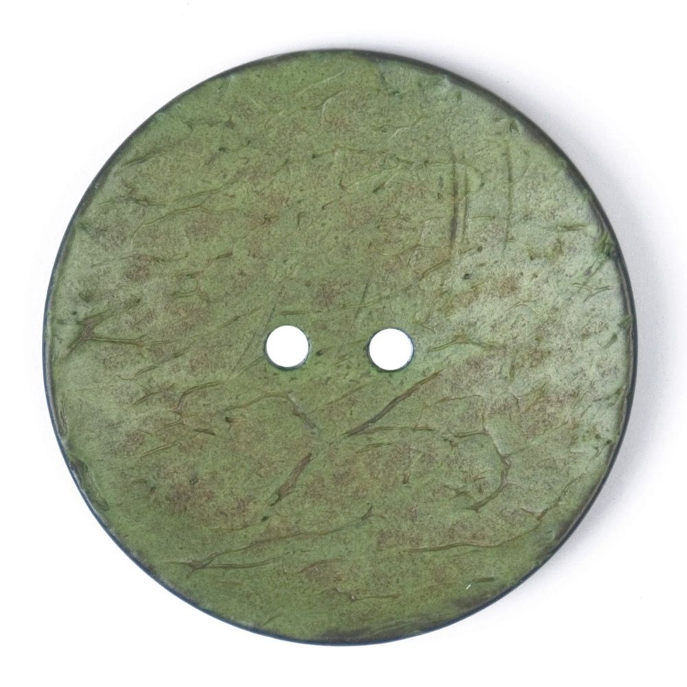 Round Coconut Shell Button - Green - 40mm / 64L