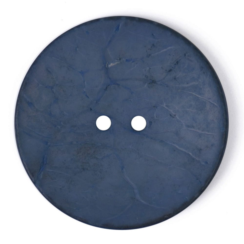 Round Coconut Shell Button - Navy - 40mm / 64L