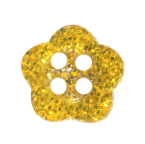 Gold Glitter Flower Two Hole Button 14L/9mm