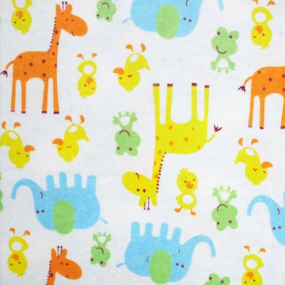 Cotton Flannel - Giraffes And Elephants On White
