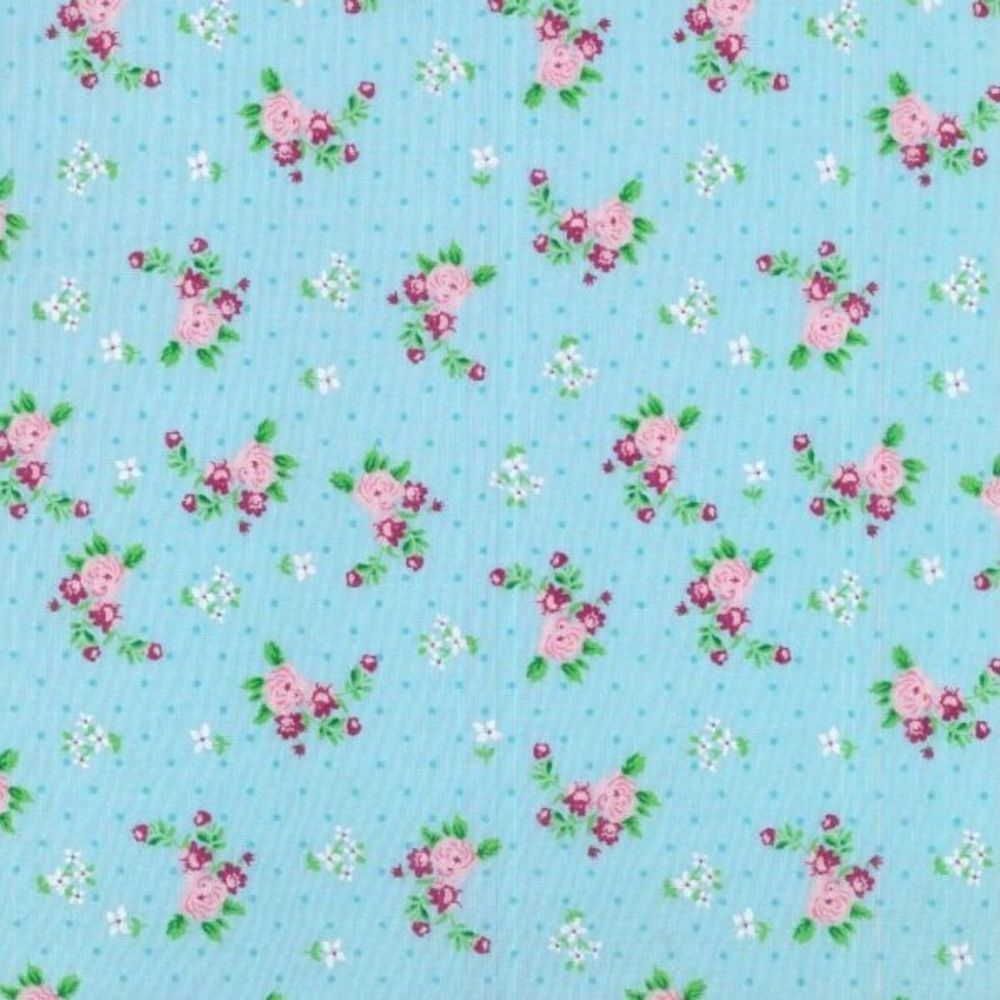 Polycotton - Pink Floral On Dotty Turquoise