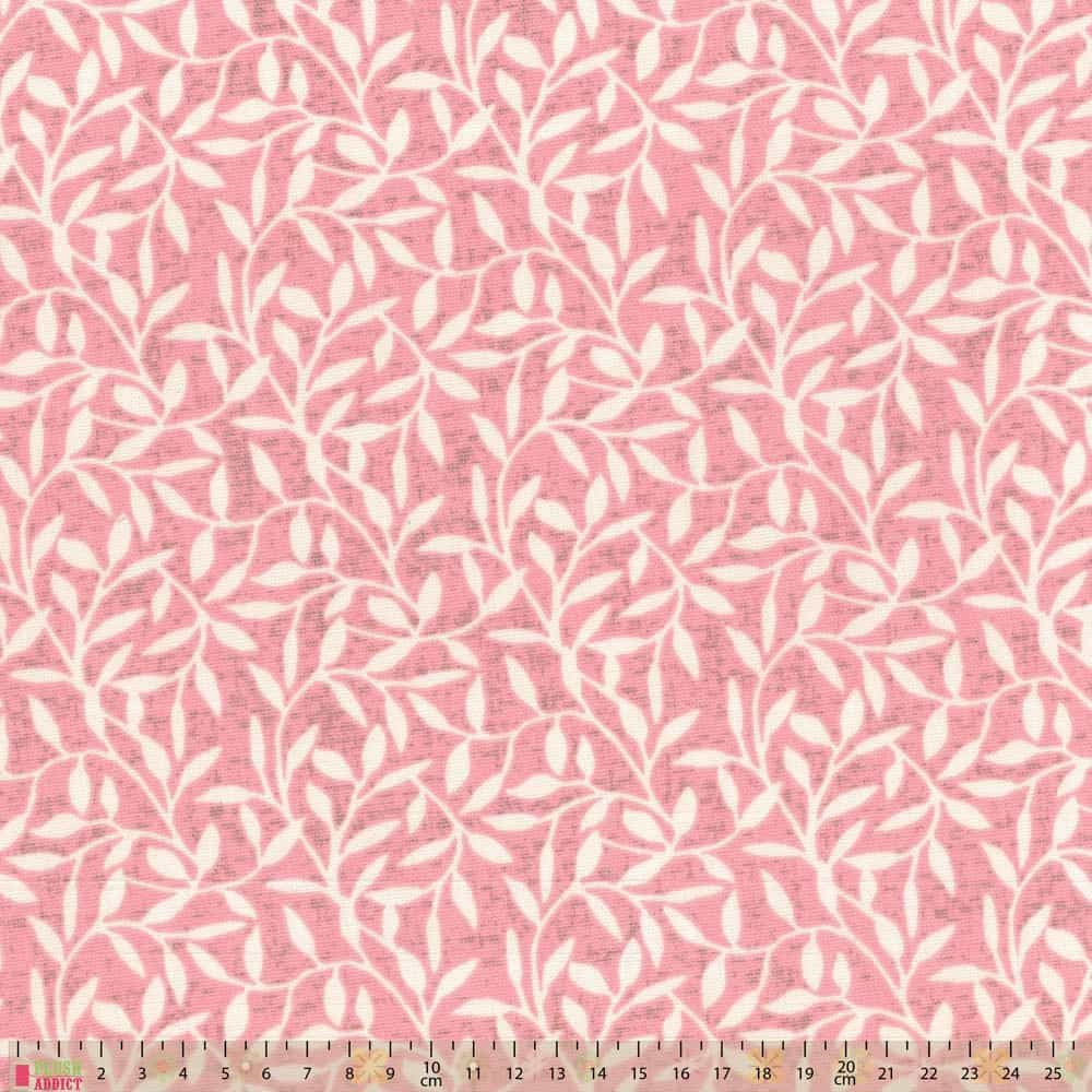 Upholstery / Curtain Fabric - Leaf Trail - Dusky Pink