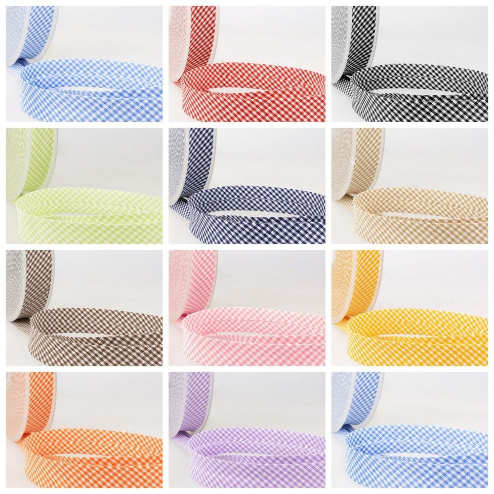 La Stephanoise Bias Binding - 20mm Wide Small Gingham In 11 Colours