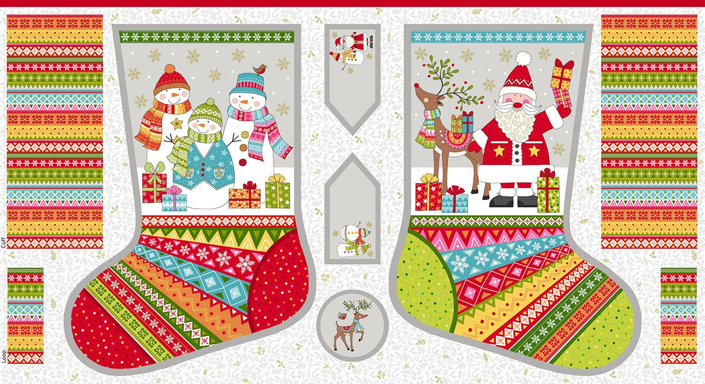 Makower - Festive - Christmas Stocking Panel - 60cm