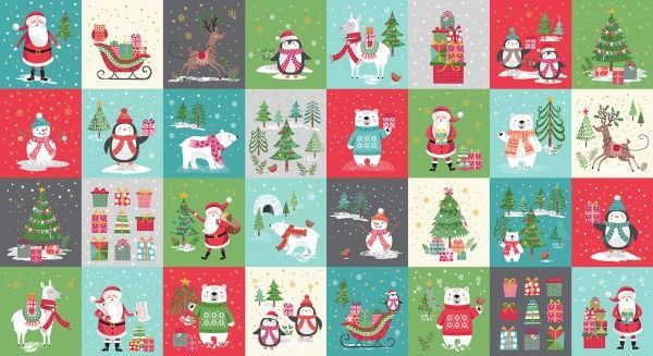 Makower - Let It Snow - Christmas Blocks Panel - 60cm