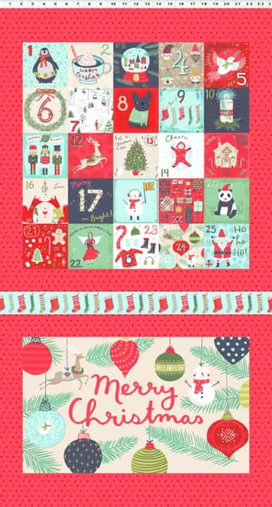 Remnant - Clothworks - 25 Days Of Christmas Cushion Panel - 58 x 110cm - Miscut