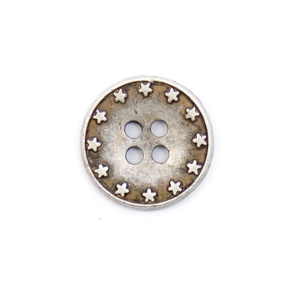 Silver Coloured Star Rimmed Metal Round 4 Hole Button 18mm / 28L