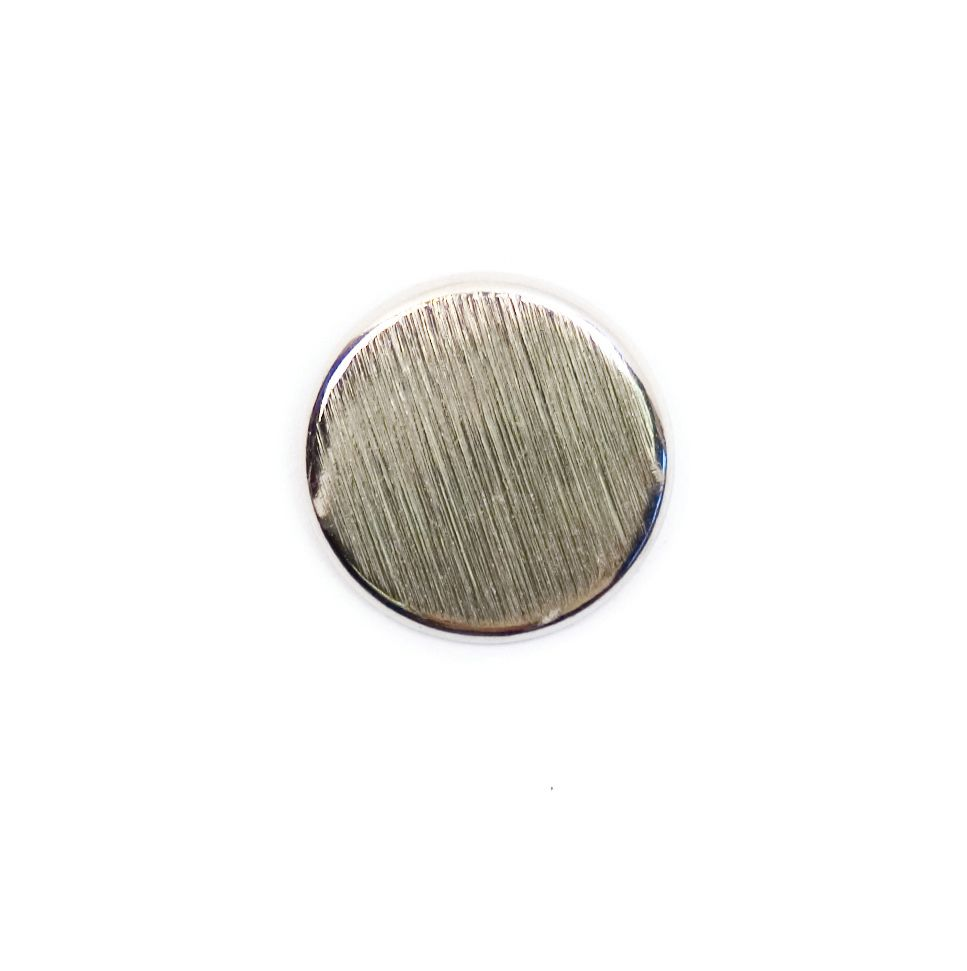 Brushed Metal Round Shank Button Silver Coloured 15mm / 24L