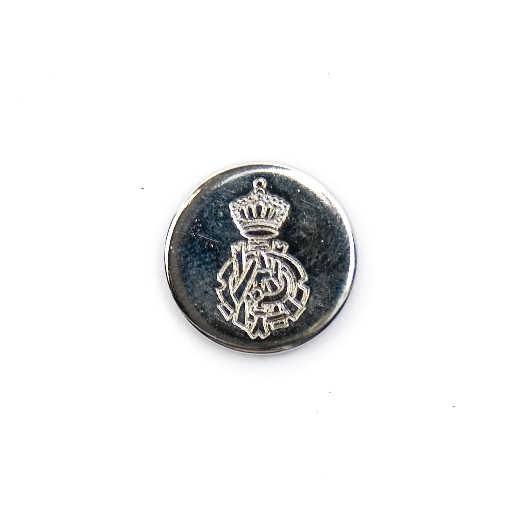Ornate Crest Metal Round Shank Button Silver Coloured 15mm / 24L