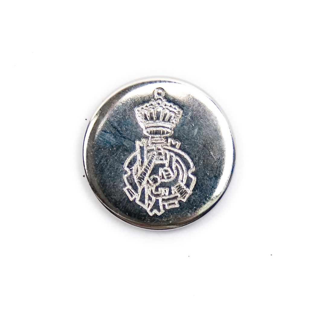 Ornate Crest Metal Round Shank Button Silver Coloured 20mm / 32L