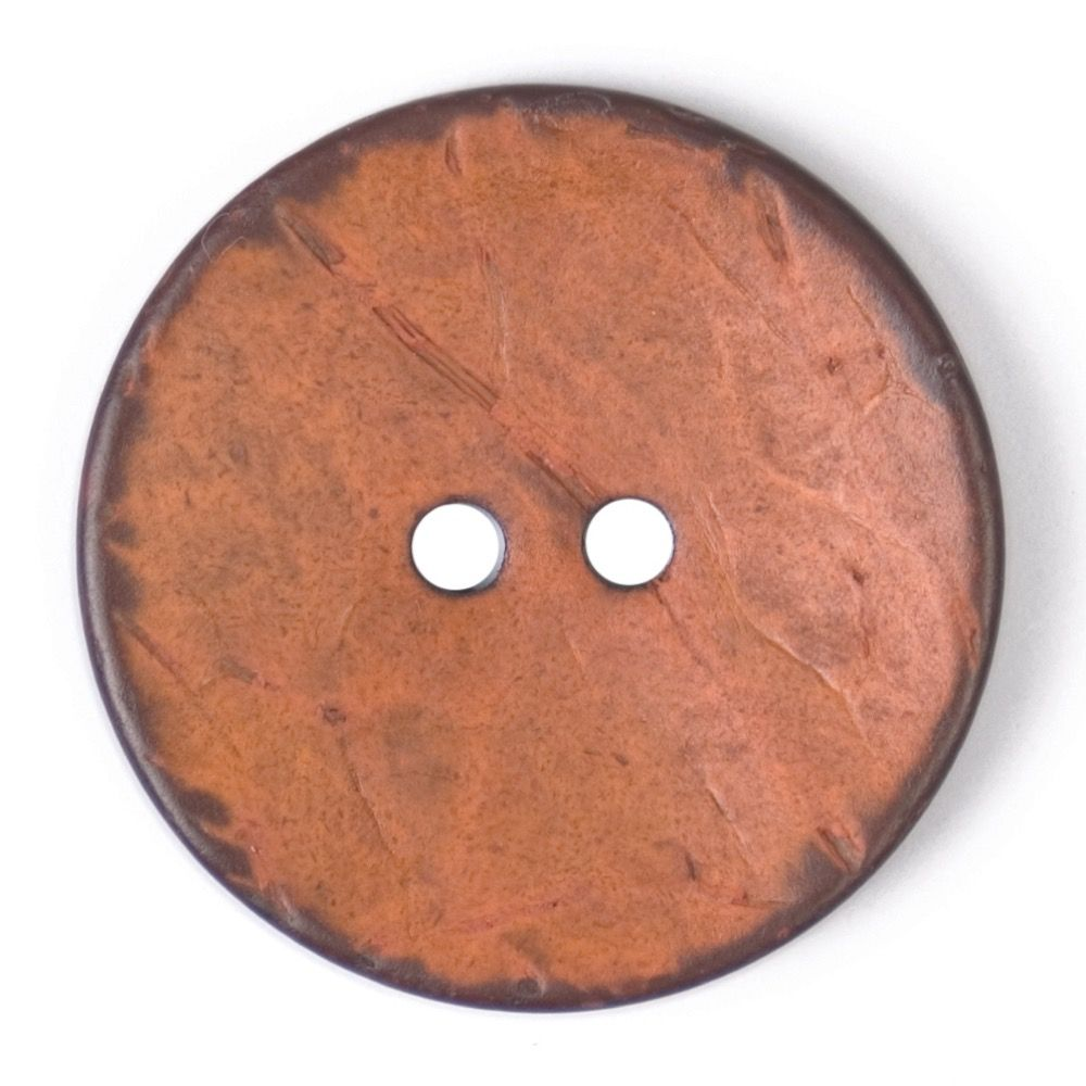 Round Coconut Shell Button - Orange - 31mm / 49L