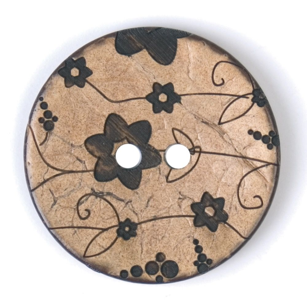 Round Coconut Shell Button - Grey Floral - 31mm / 49L