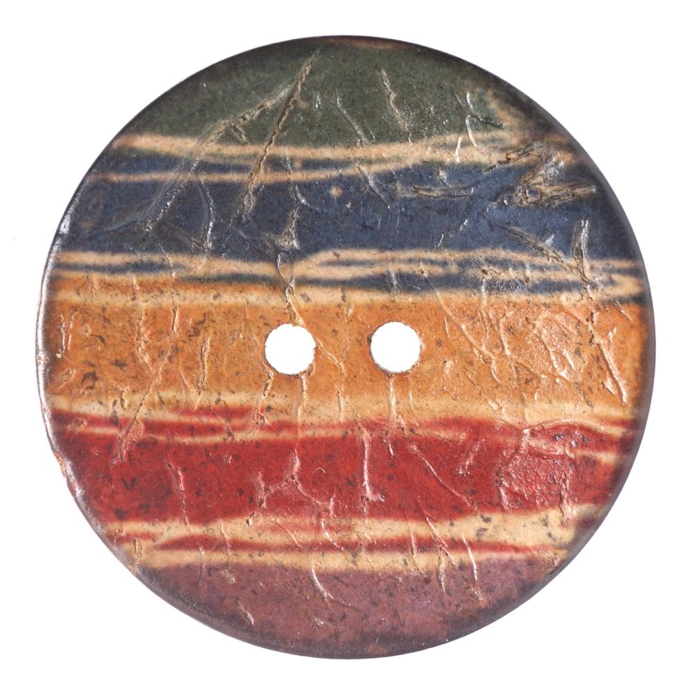 Round Coconut Shell Button - Irregular Rainbow Stripe - 25mm / 40L