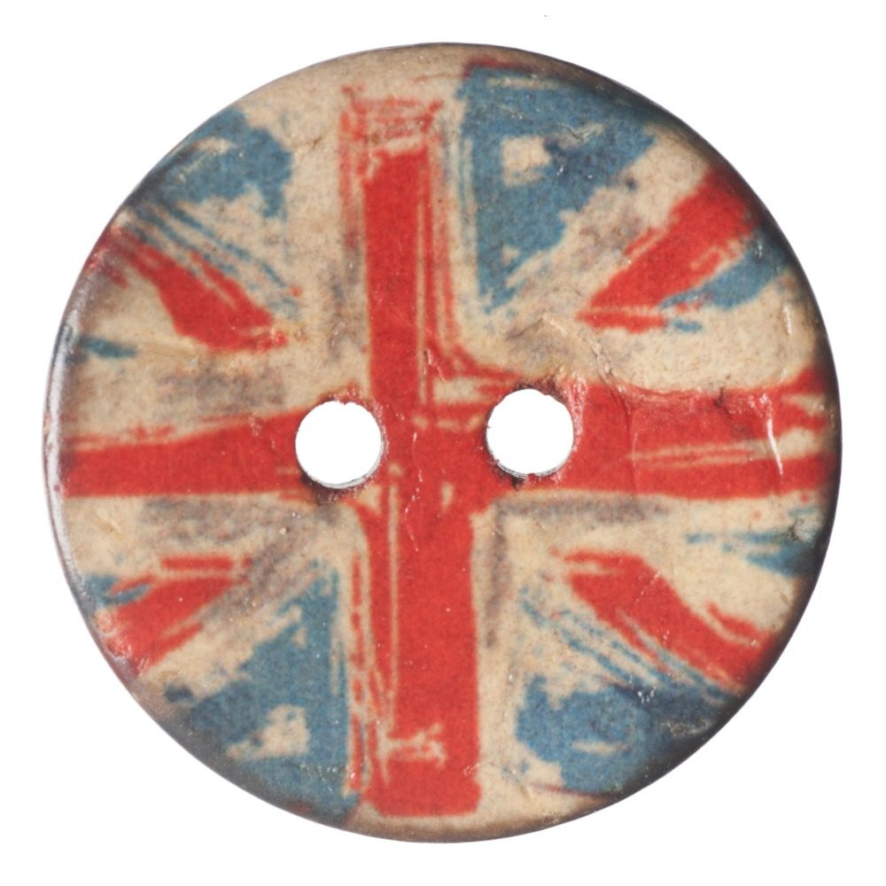 Round Coconut Shell Button - Union Jack - 23mm / 36L