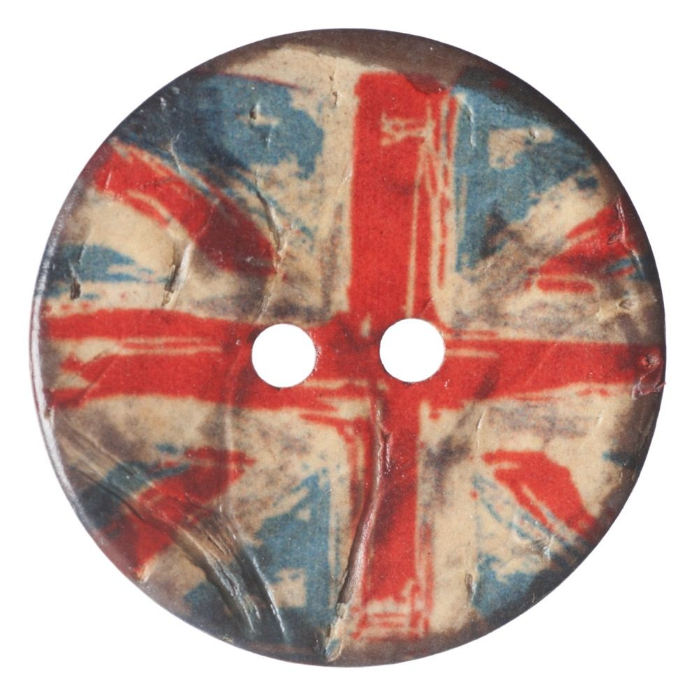Round Coconut Shell Button - Union Jack - 25mm / 40L