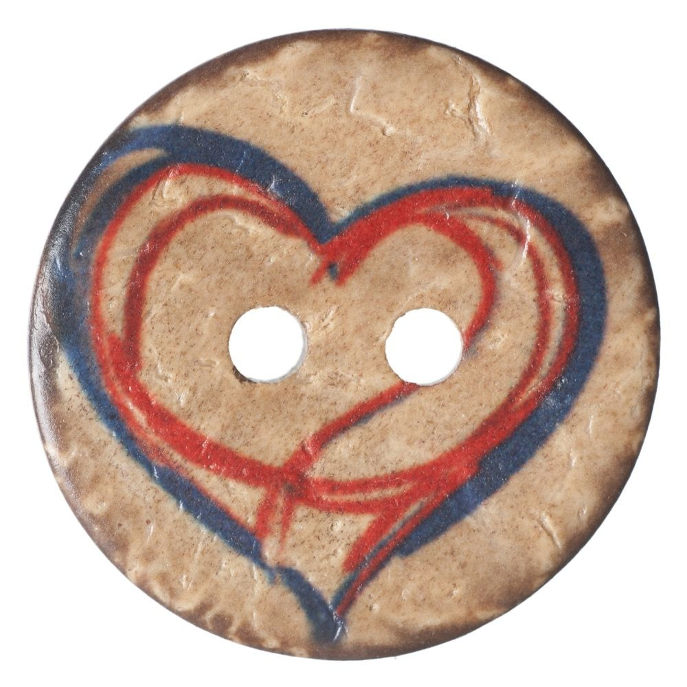 Round Coconut Shell Button - Drawn Heart - 20mm / 32L
