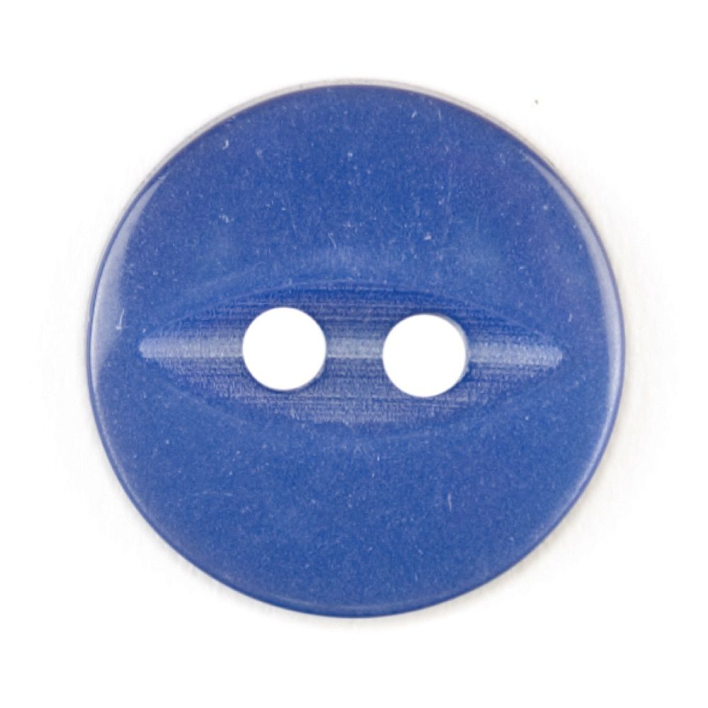 Round Fish Eye Button 2 Hole - Royal Blue - 14mm / 22L