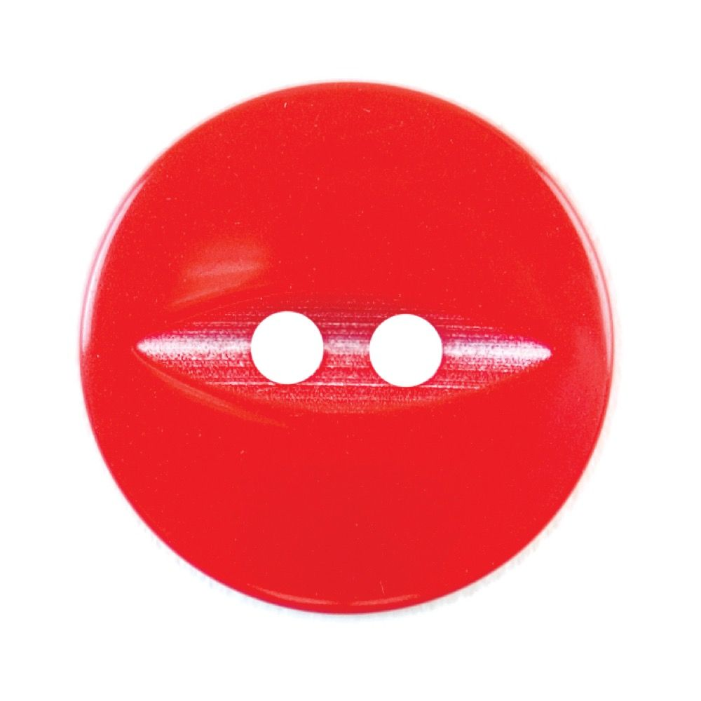 Round Fish Eye Button 2 Hole - Red - 19mm / 30L