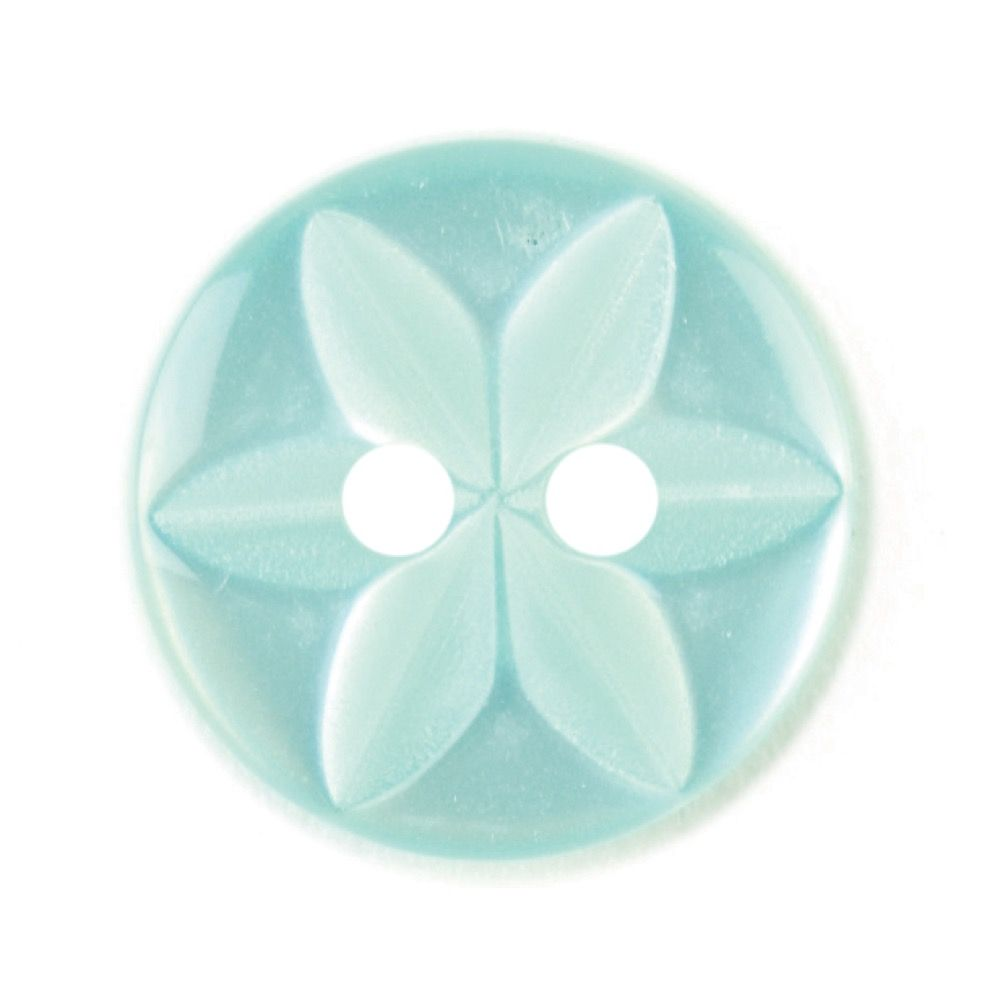 Round Polyester 2 Hole Star Flower Button - Light Green - 14mm / 22L