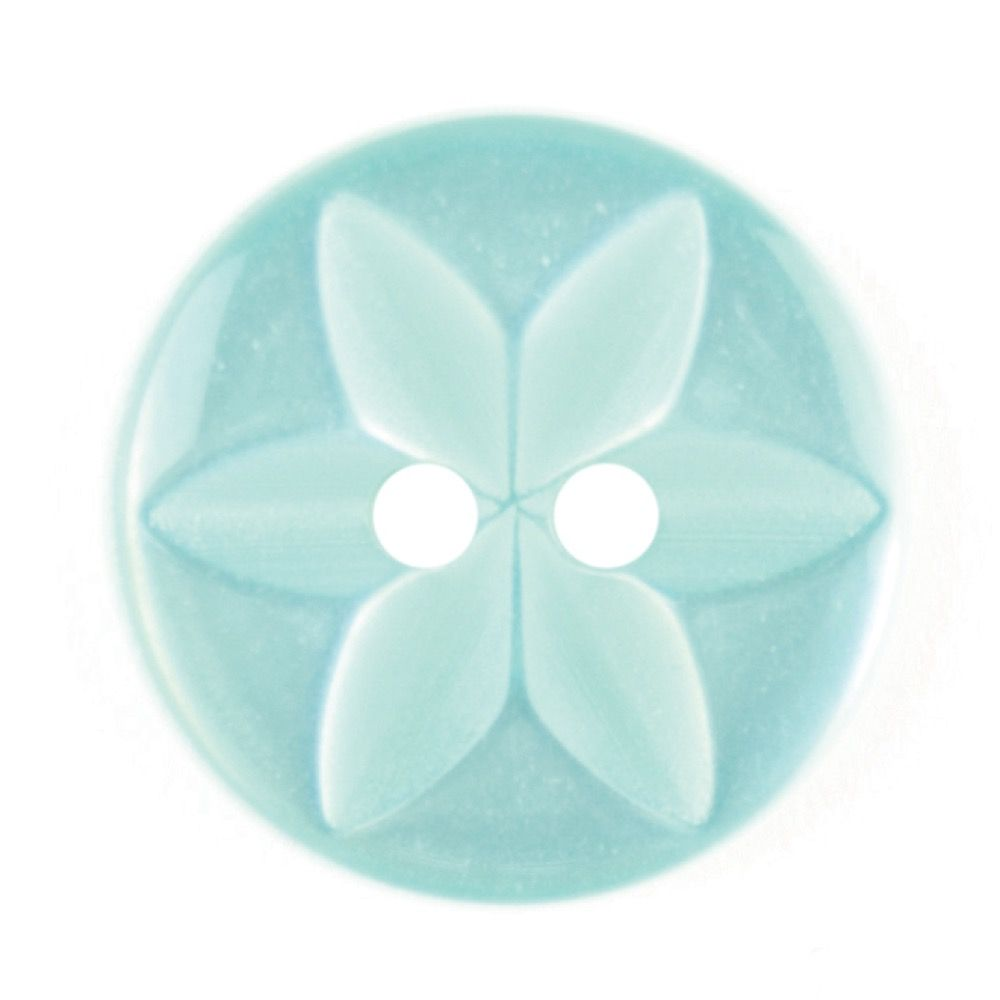 Round Polyester 2 Hole Star Flower Button - Light Green - 16mm / 26L