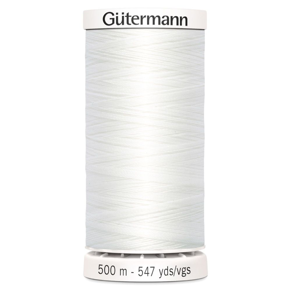 Gutermann 500m Sew-All Polyester Sewing Thread - Colour WHT