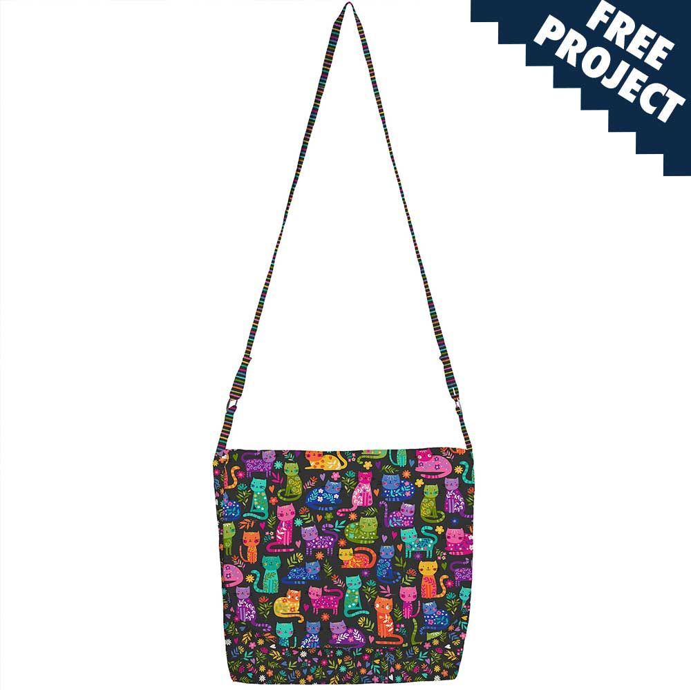 Makower - Katies Cats - Messenger Bag Free Project - Instant Download