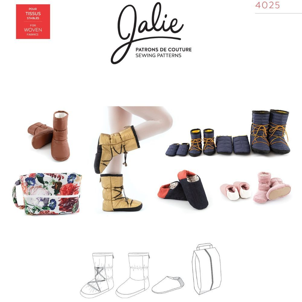 Jalie  -  NORDIK Quilted booties and slippers with travel bag Sewing Pattern