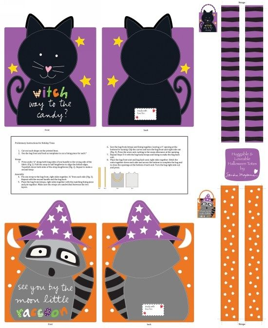 Remnant - Studio E - Huggable And Loveable - Halloween Treat Bags Panel - 88 x 110cm - Miscut
