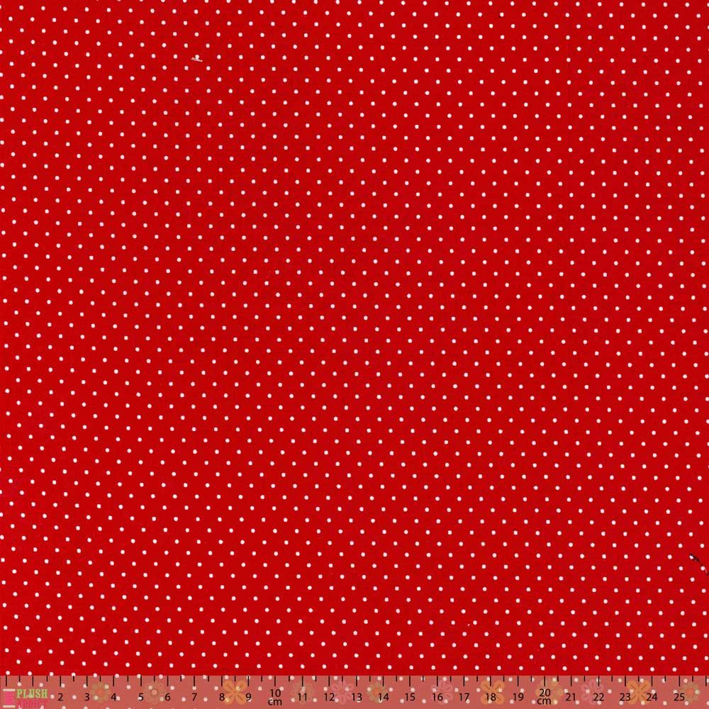 Cotton Fabric - Pinspot Red