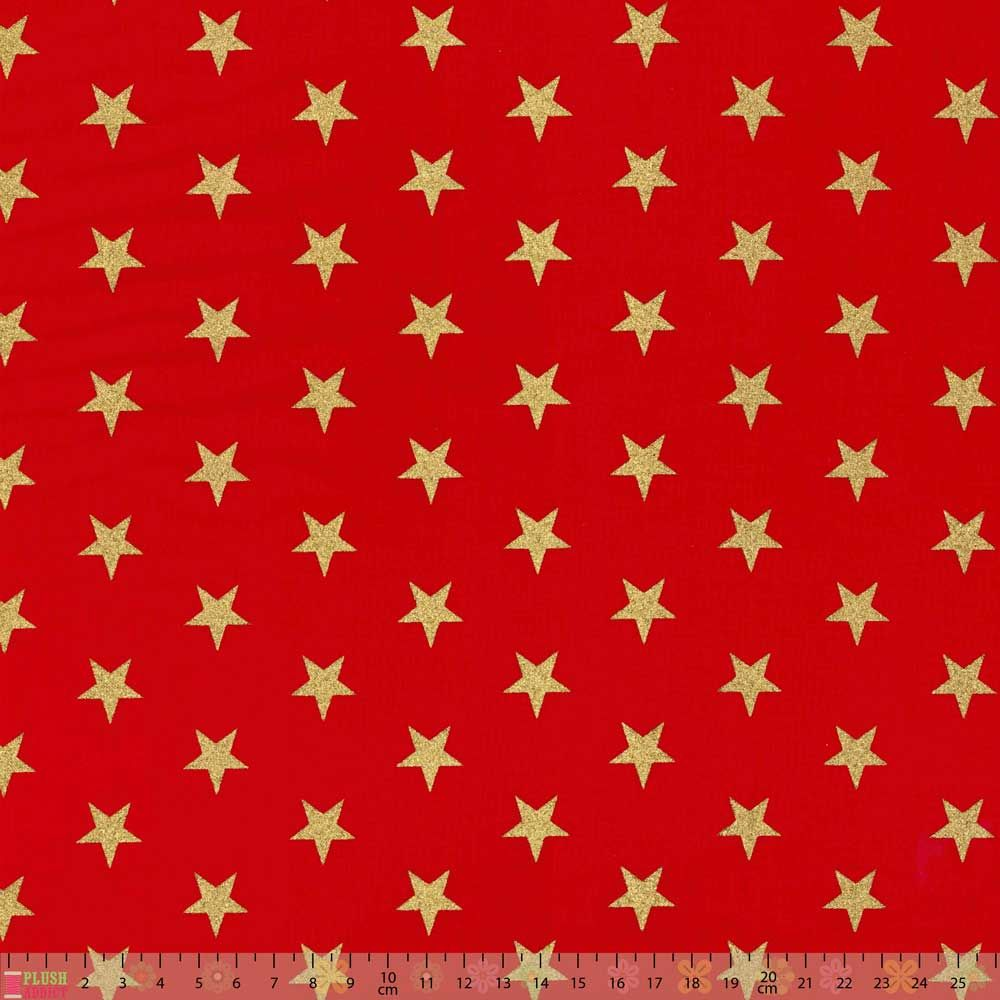 Remnant -Cotton Fabric - Glitter Stars Red - 35 x 140cm