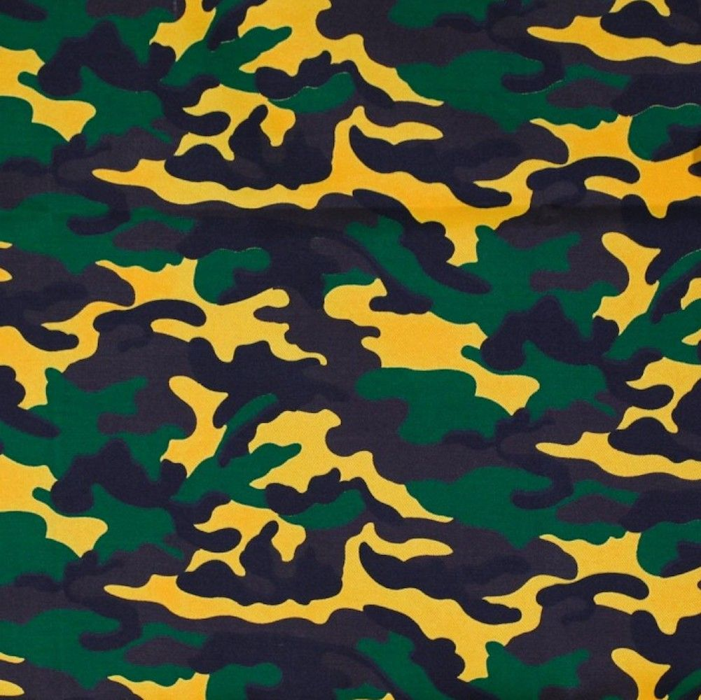 Camouflage Canvas Fabric - Green & Yellow