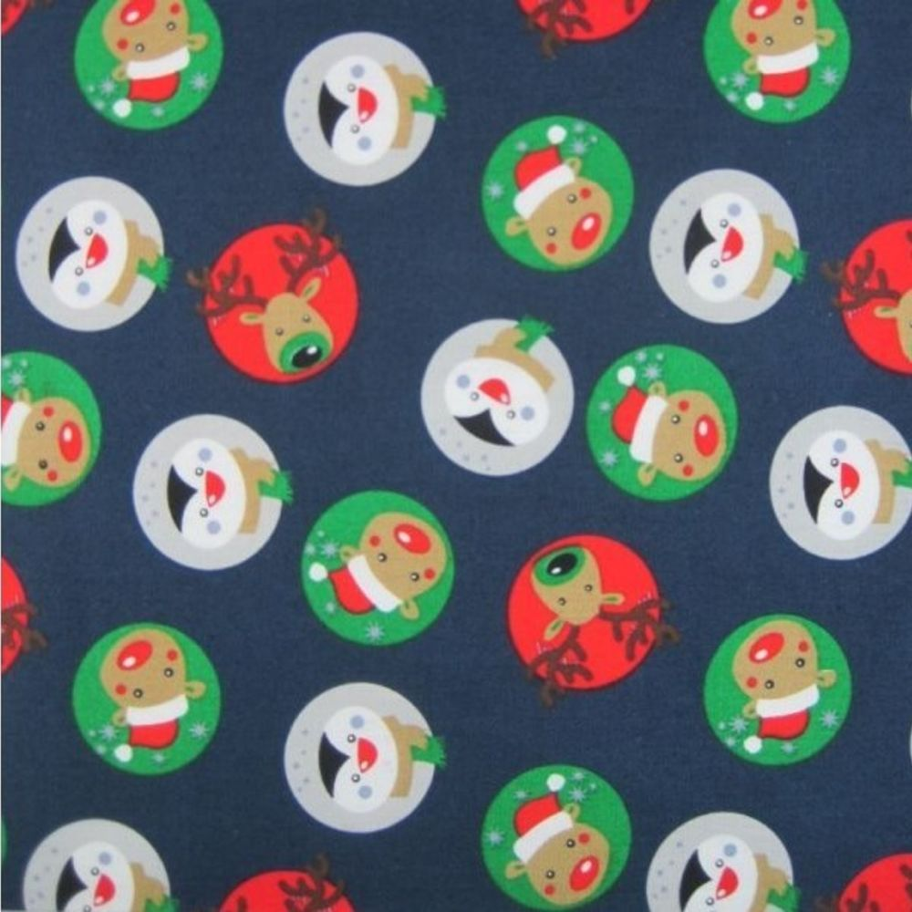 Remnant - Cotton Fabric - Reindeer And Penguin Medallions - 75 x 140cm