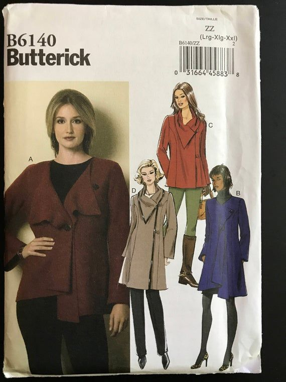 Remnant - Butterick Sewing Pattern B6140 - ZZ- size Lrg - Xlg - Xxl -  End of Line