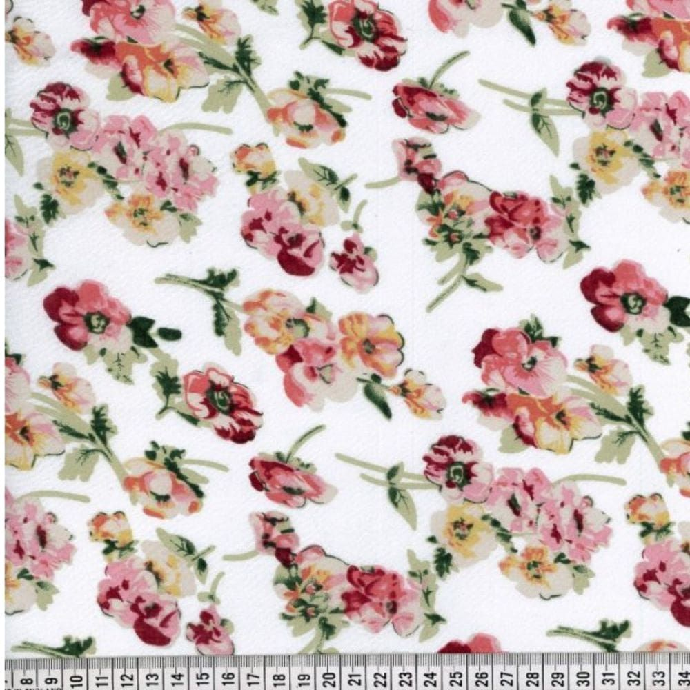 Cotton Lawn - Pink And Peach Floral On White