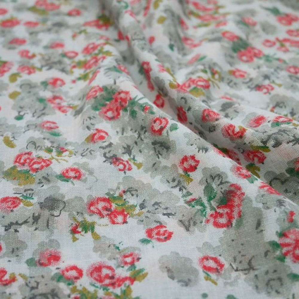 Cotton Lawn - Red And Grey Floral On White