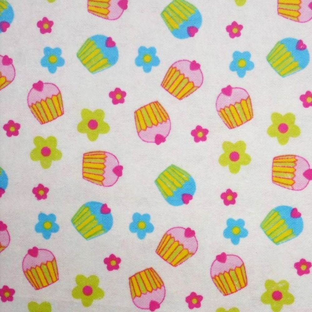Cotton Flannel - Cupcakes On White