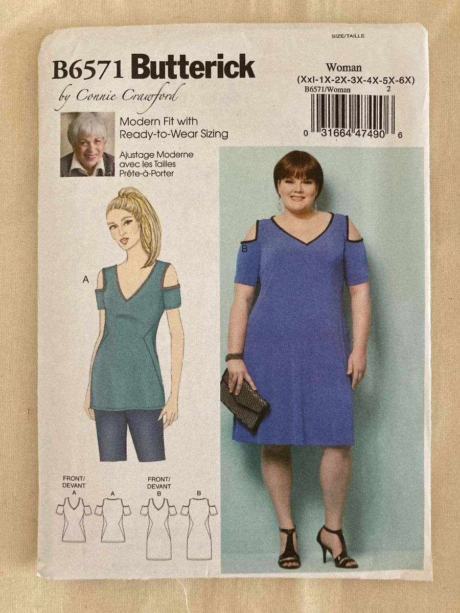 Remnant - Butterick Sewing Pattern B6571 - Woman- (Bust size -42-43 - 66-68) -  End of Line