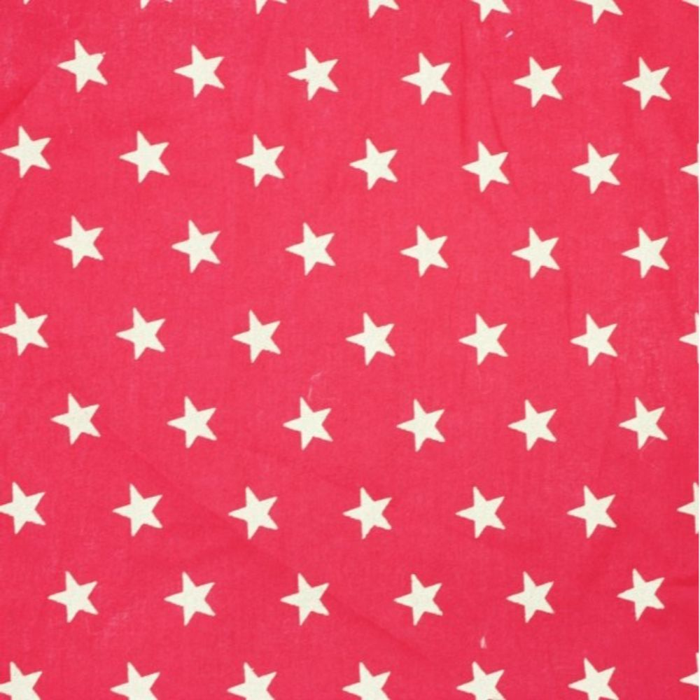 Christmas Cotton Large Gold Stars On Red